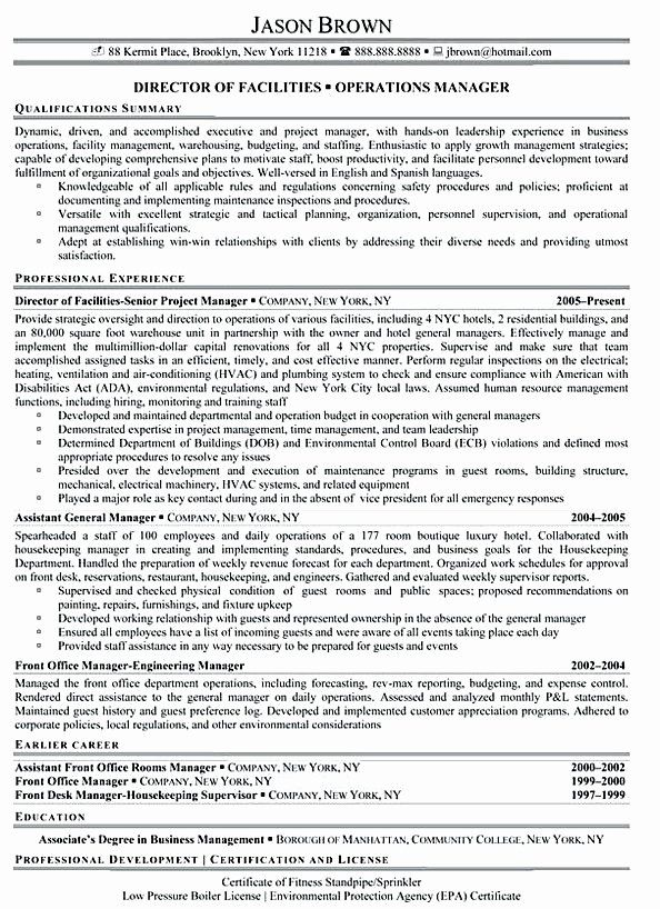 Director Of Facilities Resume Beautiful Facility Manager