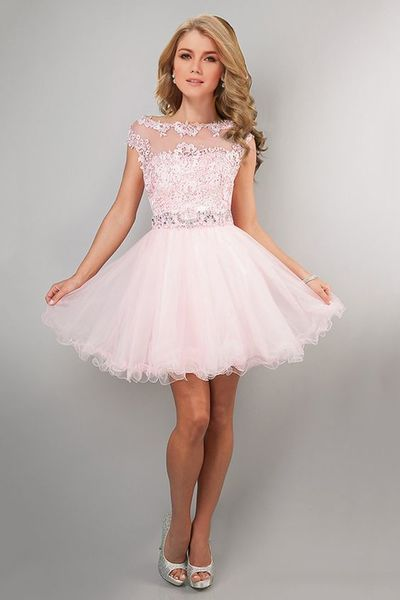 Fashion Prom Dress,Applique Pink Homecoming