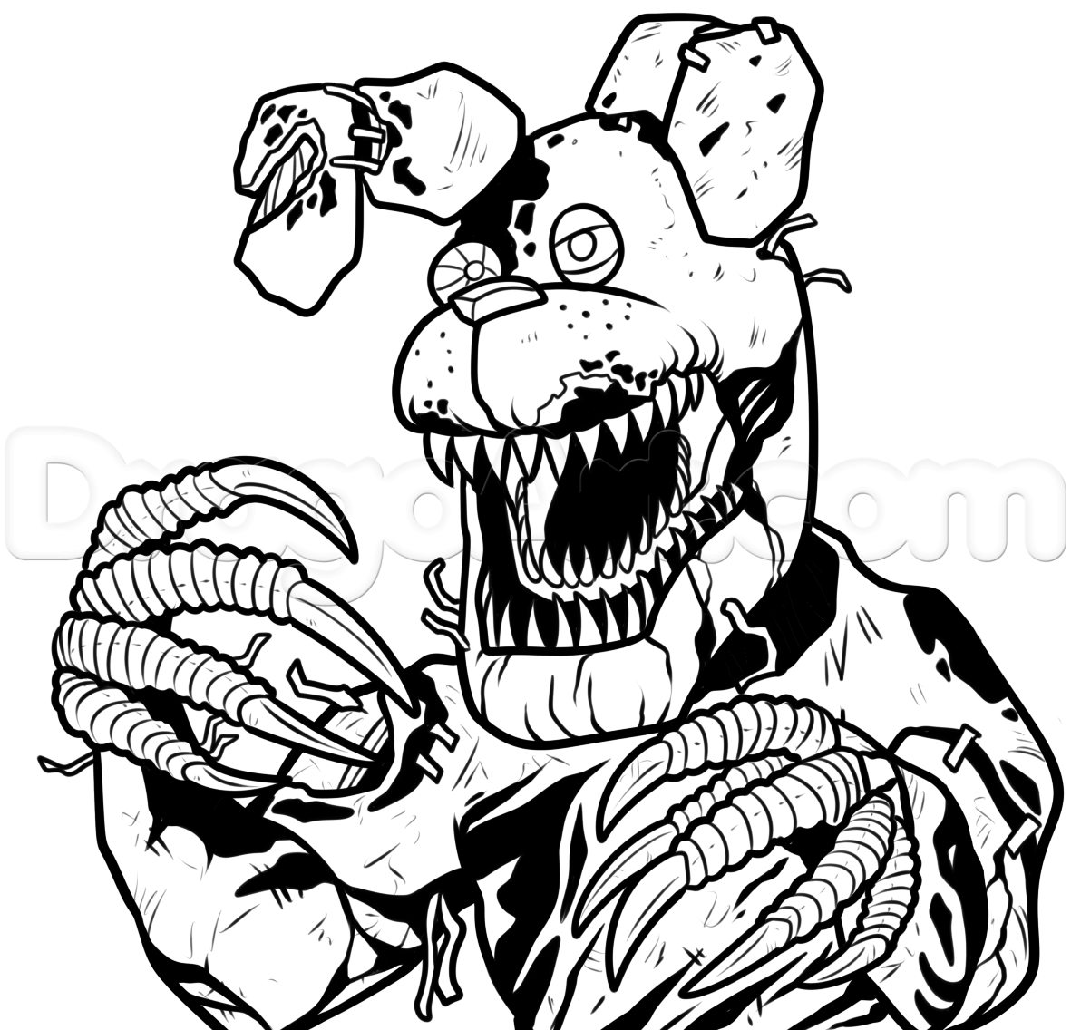 fnaf 4 coloring pages all characters - bonnie coloring pages nightmare drawing