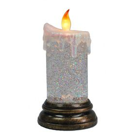 737 in h battery operated led shimmering glitter candle - Battery Operated Christmas Candles