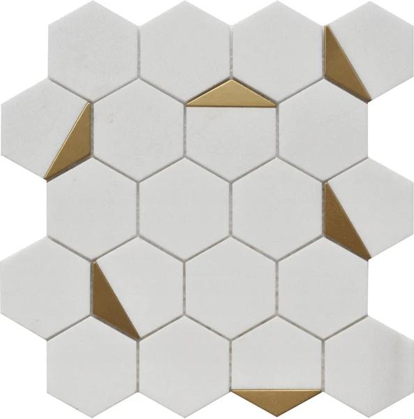 thassos white gold brass hexagon