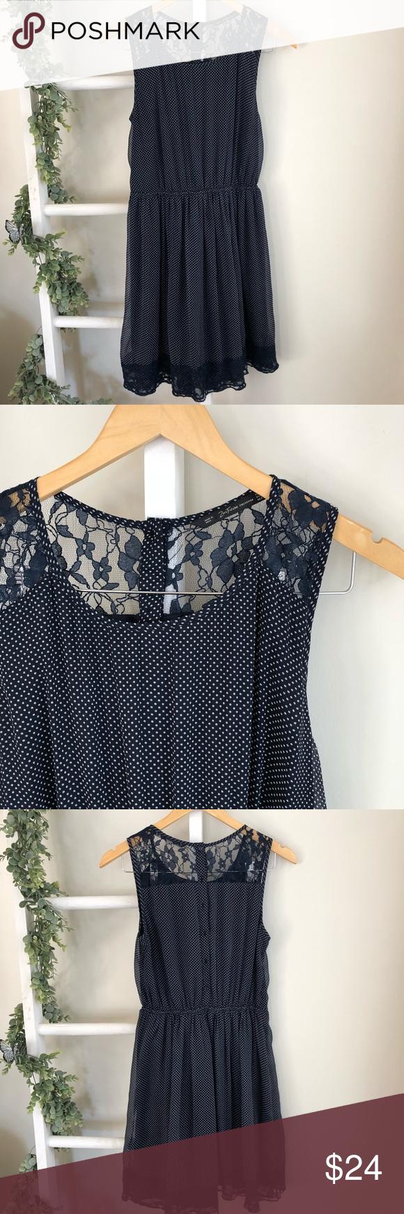 "381883705096fb Zara polka dot lace dress EUC Elastic waist, button down back, lace  detailing Measures Pit to pit 16.5"" Shoulder to hem 35"" 0610 Zara Dresses"