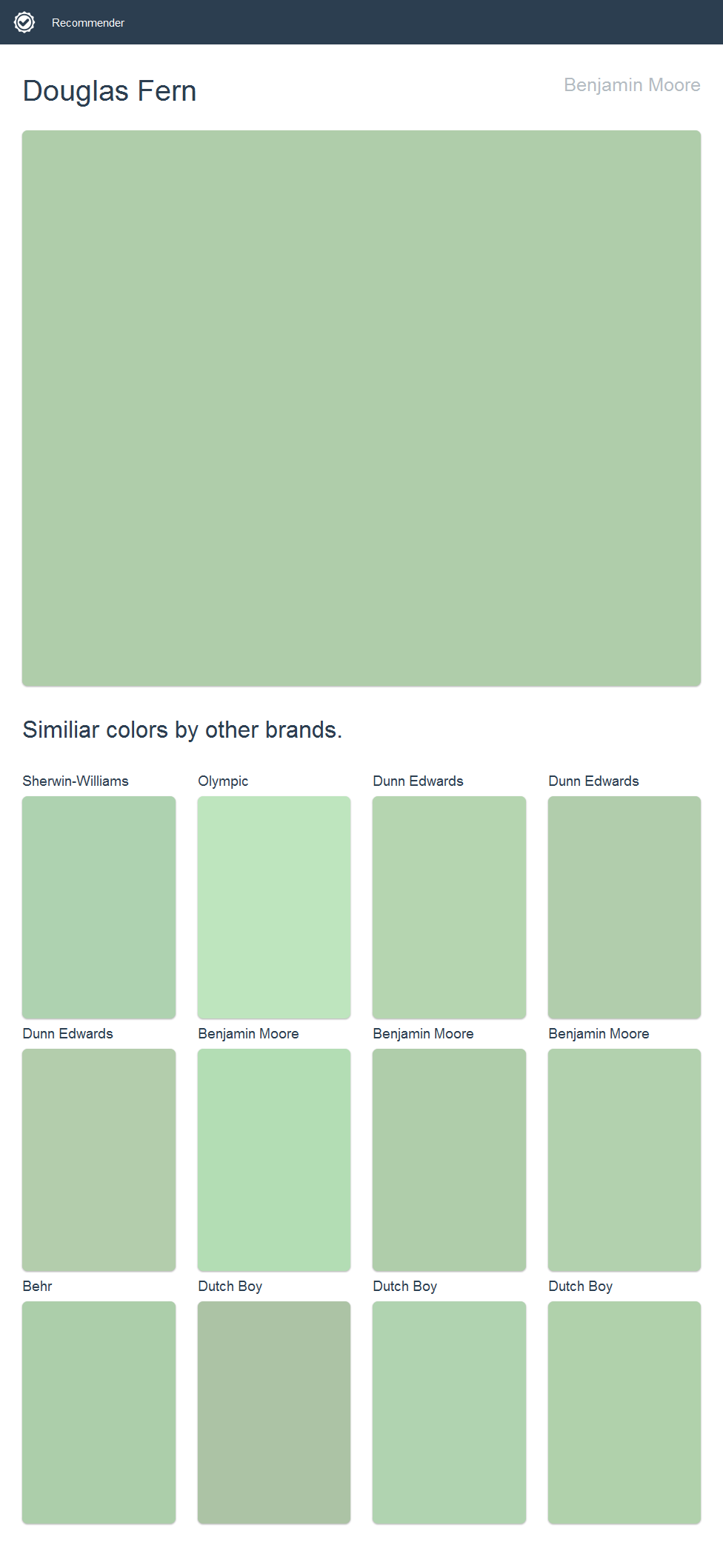 Click The Image To See Similiar Colors By Other Brands