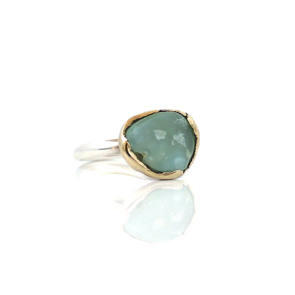 Rustic Peruvian Opal set in brass with a sterling silver band. Handmade in our Toronto studio. Made to Order