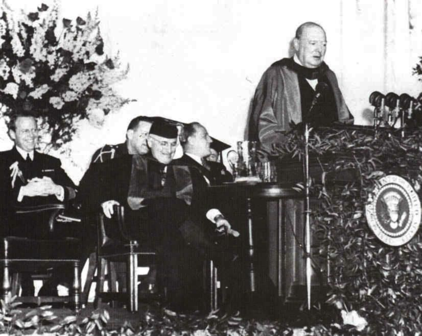 March 1946 Winston Churchill Delivering The Iconic U0027Iron Curtainu0027 Speech In  Fulton, Missouri, United States.