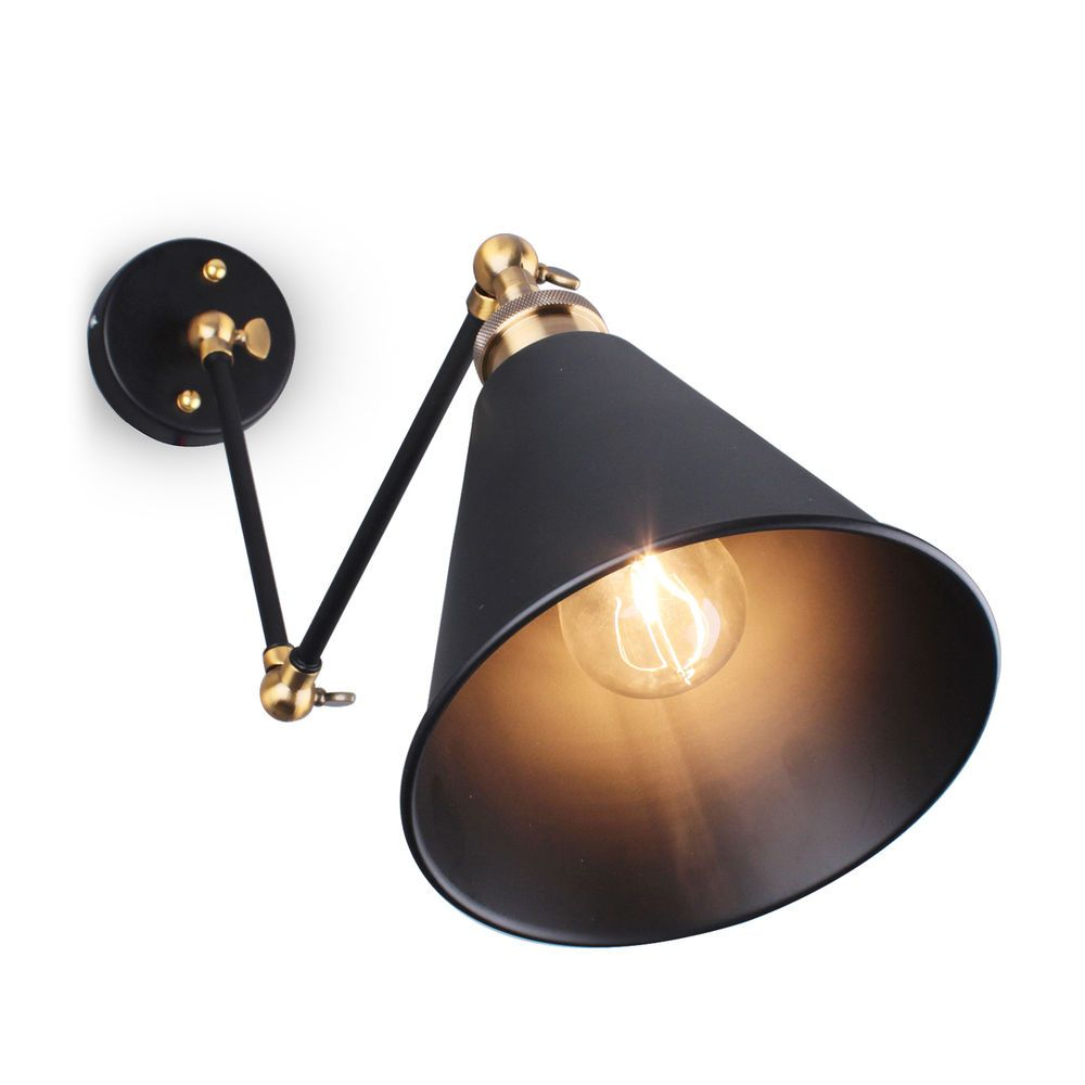 US Industrial Vintage Adjustable Swing Arm Light Sconce Wall Lamp Fixture Home