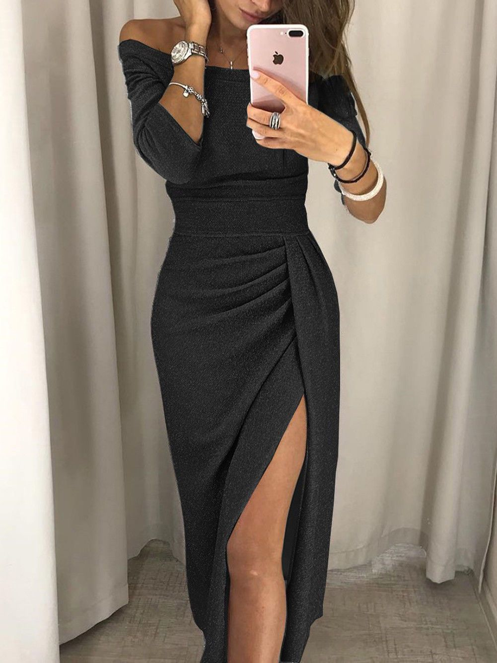 5df2e7dd3b52 Women's Off Shoulder Long Sleeve Bodycon Evening Cocktail Party Long Dress