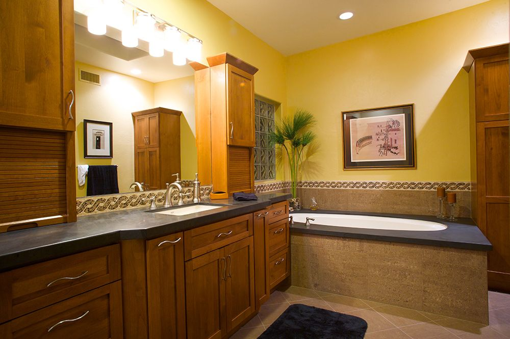 Contemporary Master Bath Remodel With Bathroom Cabinets By Legacy - Bathroom cabinets tucson