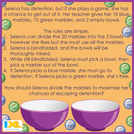 Don T Lose Your Marbles Trying To Solve This Brainteaser Answer Here Https Www Facebook Com Ixl Photos A 3664699267 Brain Teasers Maths Puzzles New Puzzle