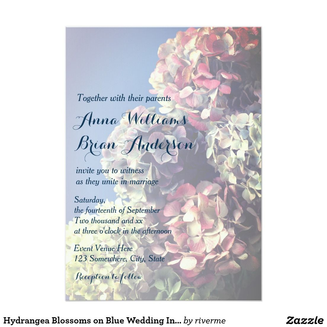 Hydrangea Blossoms on Blue Wedding Invitation