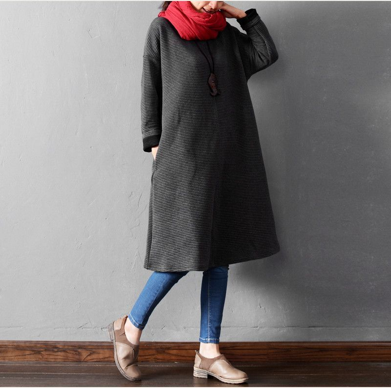 Women autumn and winter long sleeve solid color 100% cotton loose dress