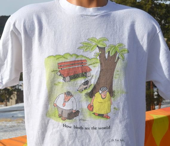 Vintage T Shirt 80s Far Side Cartoon Birds See World Funny