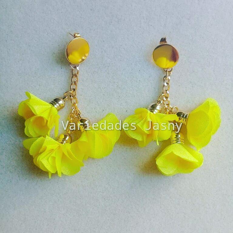 82f8fd96410e  aretes  borla  flor  amarillo  cadena  aluminio  moda  belleza  accesorios   hechoamano  queregalar. Envíos a toda Colombia. Escriba a…