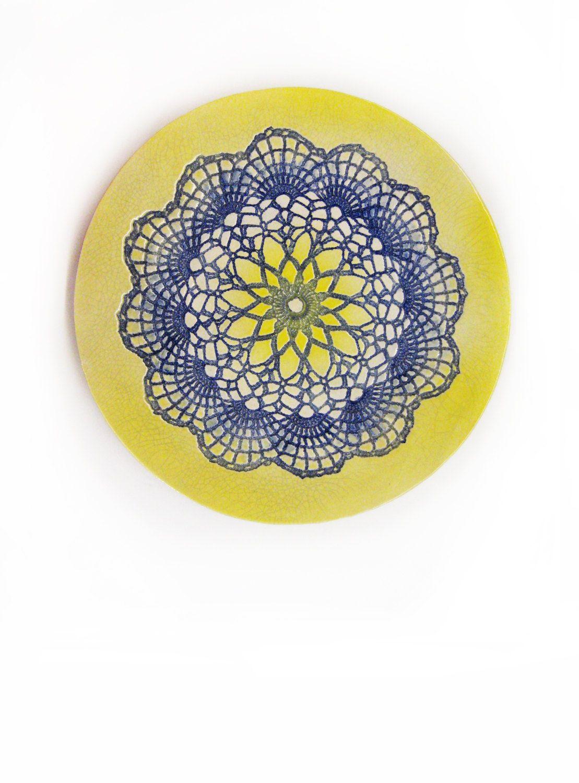 ceramic wall art, ceramic plate, mandala plate, lace pottery, by ...