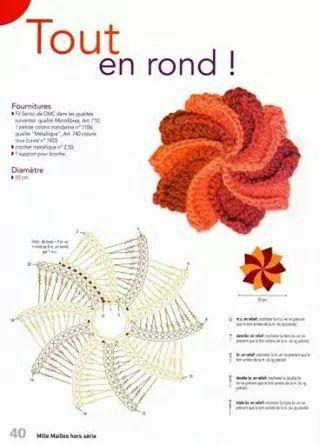 Flor molinete   Tejido   Pinterest   Molinillos, Flor y Tejido