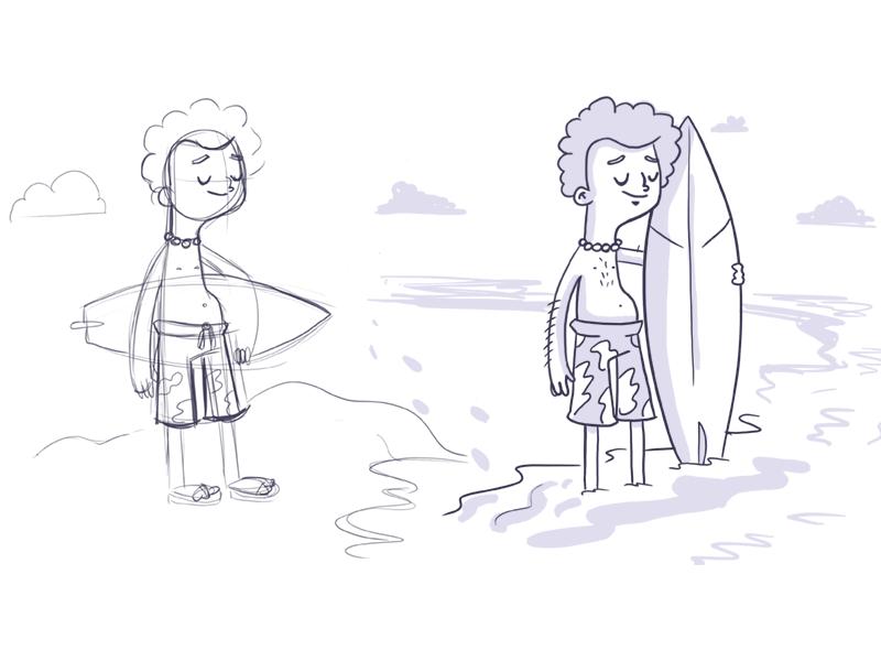 Surfer Surfer, Icon illustration, Character design