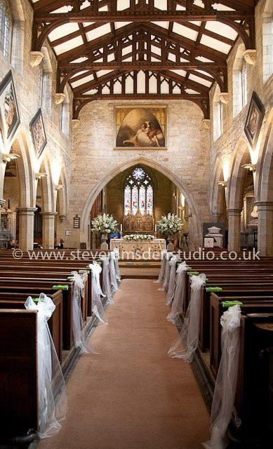 St Marys Church, Masham, wedding flowers and pew end decoration by Susie Hart