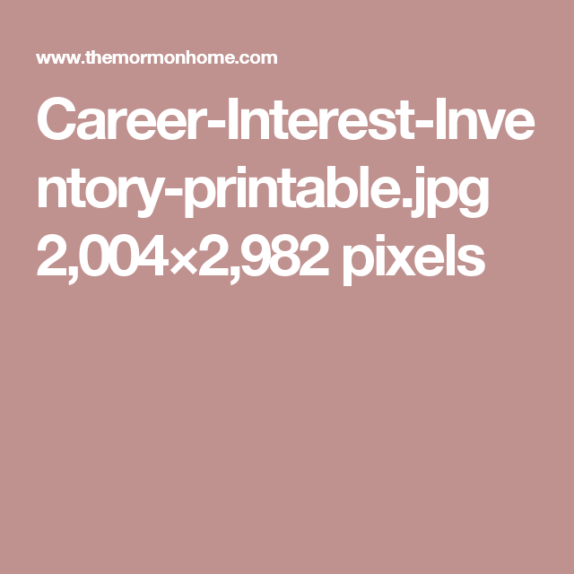 Career Interest Inventory Printable Jpg 2 004 2 982 Pixels