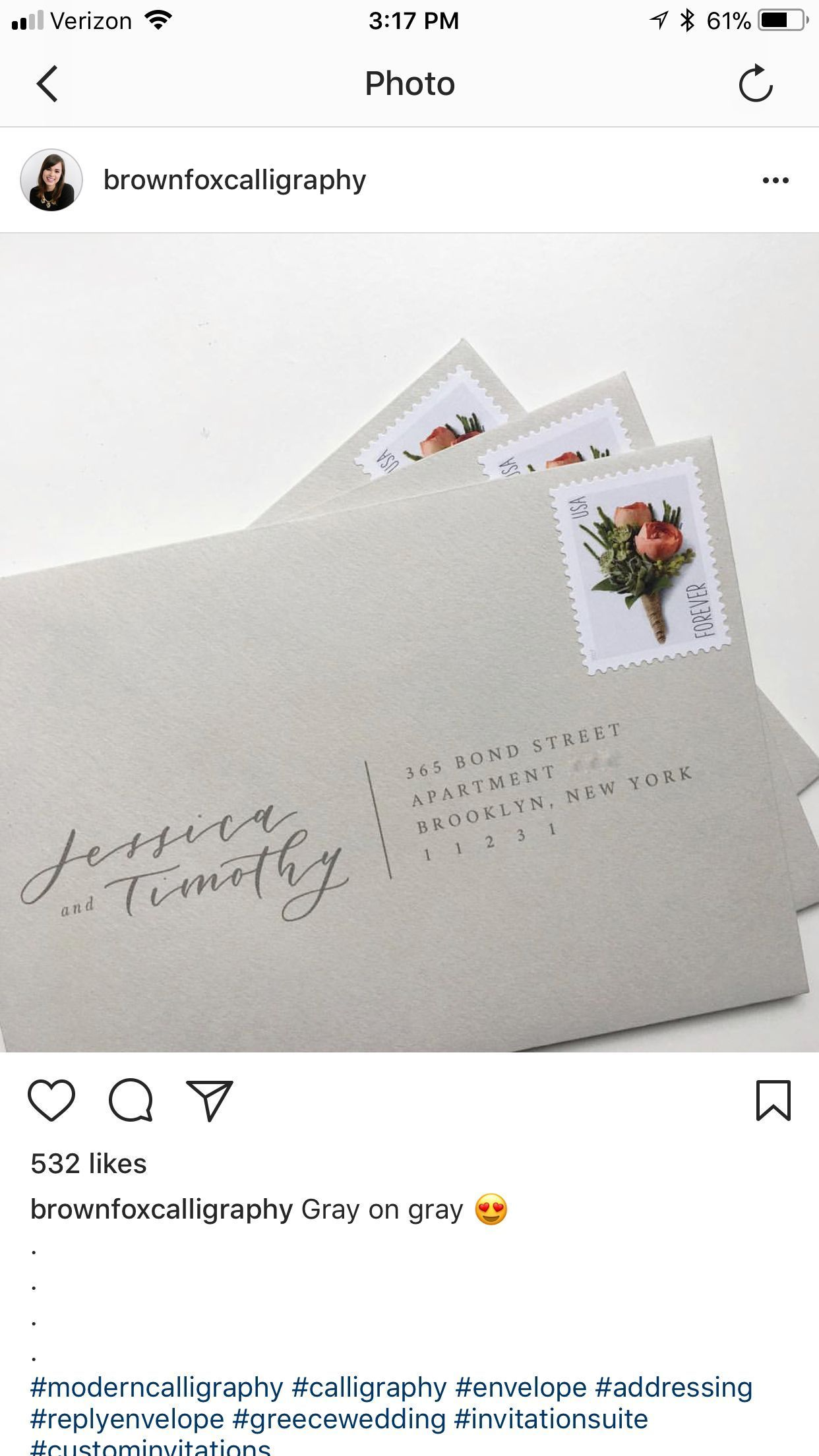 brown fox calligraphy weddinginvitationenvelopes