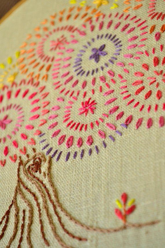 Embroidery pattern beginner • PDF • Fall Tree • colorful foliage • Bonsai tree • NaiveNeedle #embroiderypatternsbeginner