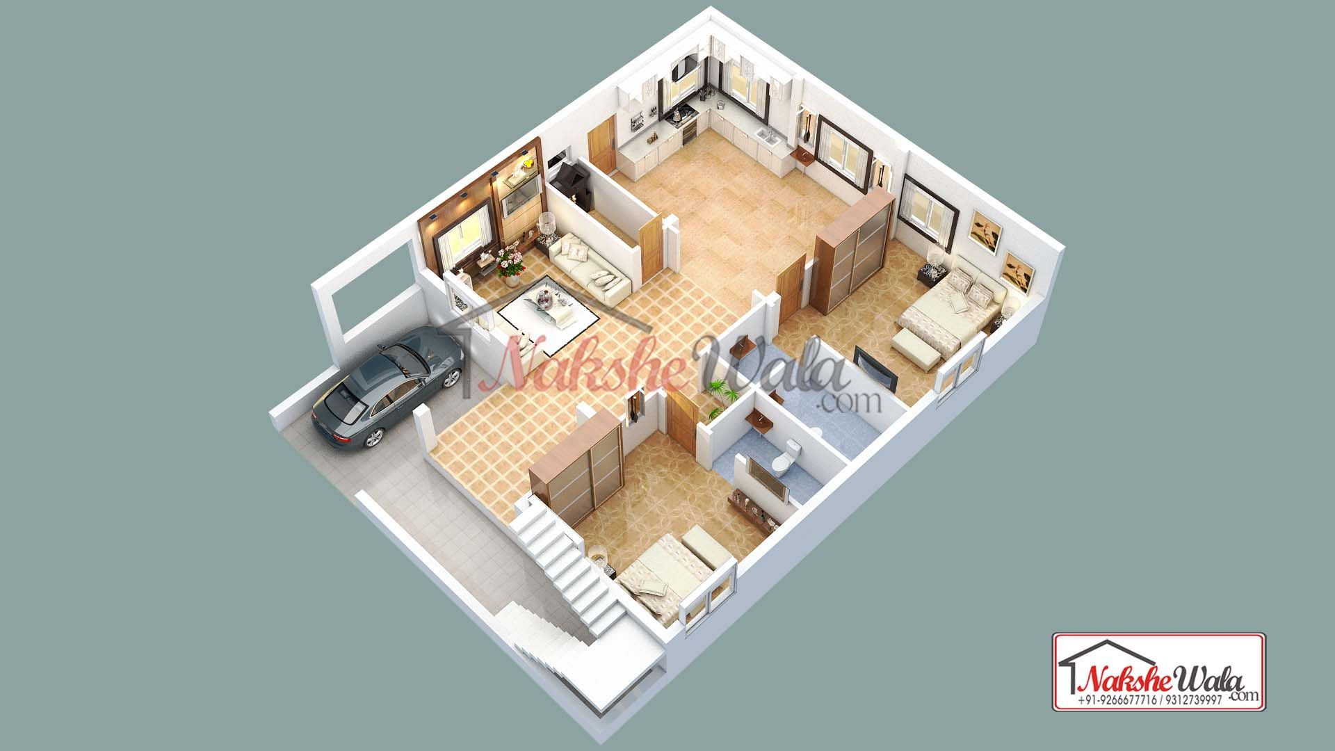 2 Bhk 3d Floor Plan Design Floor Plan Design Floor Plan Layout Floor Plans
