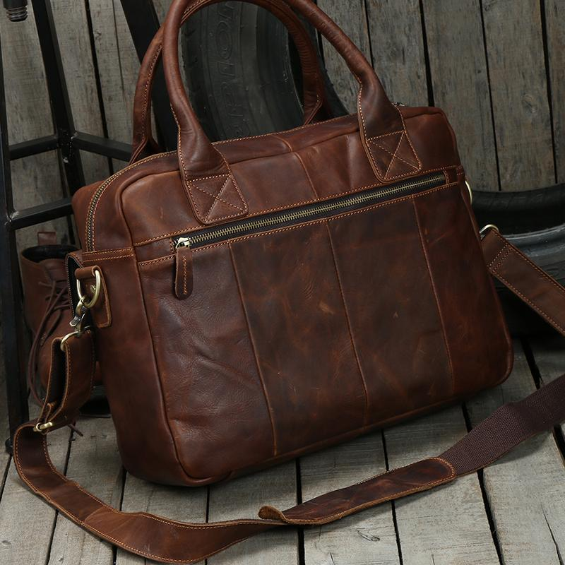 ed6a5a864833 Handmade Dark Brown Top Grain Leather Briefcase Men's Handbag ...
