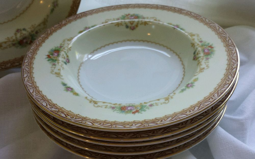 6 Noritake China Soup Bowls Made In Occupied Japan 1939 1940