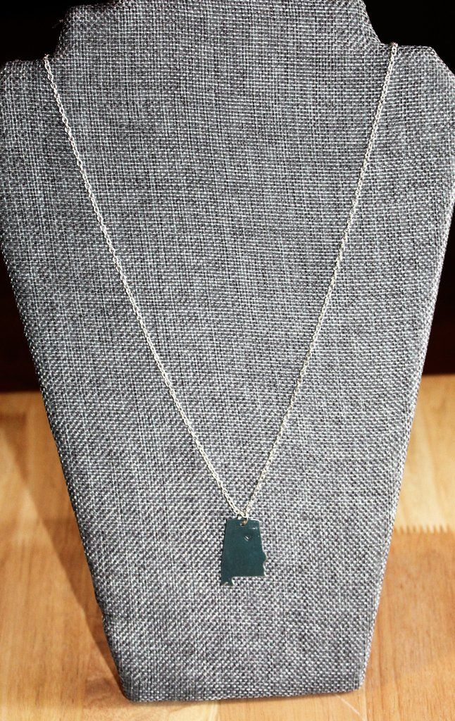 Silver Alabama Necklace with Hand Stamped Heart