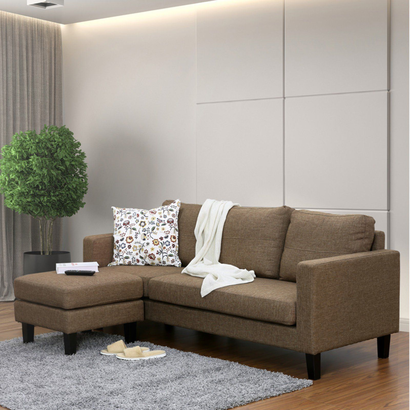 In Furinno Brown Sofa Simply Chaise Home With OttomanProducts I6byfgvmY7
