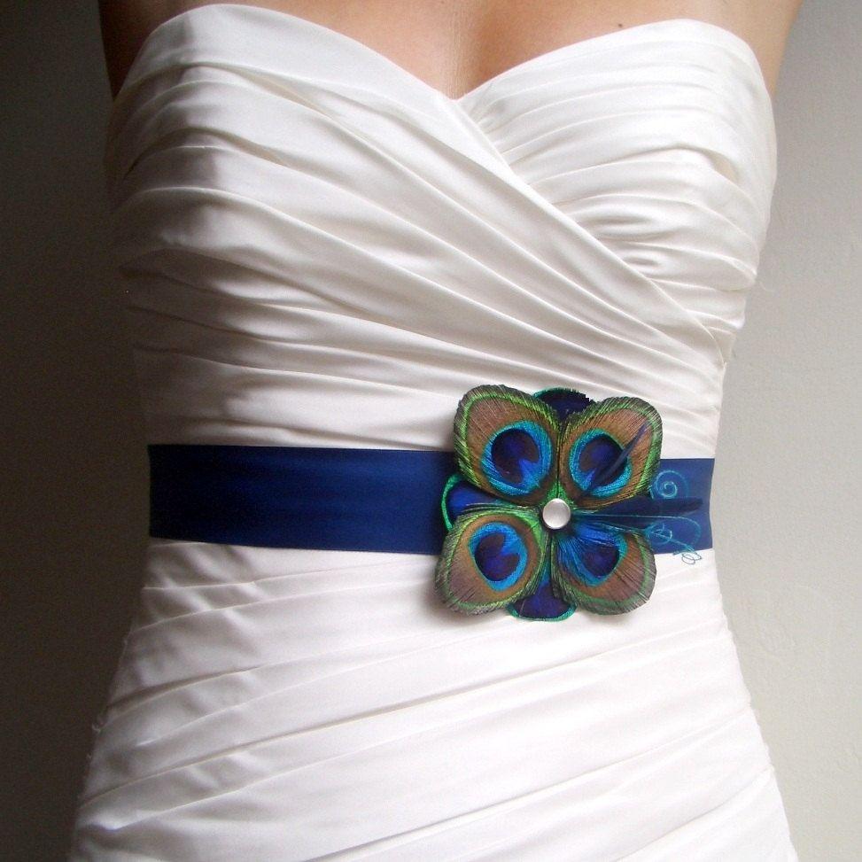 Peacock Wedding Dress Sash