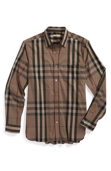 Burberry Brit 'Nelson' Trim Fit Check Sport Shirt available at #Nordstrom