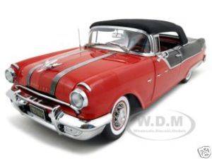 Click Image Above To Buy: 1955 Pontiac Star Chief Diecast Car Model 1/18 Closed Convertible Red/black Platinum Edition By Sunstar