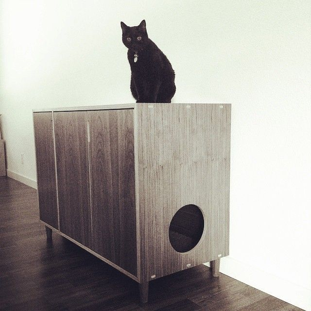 Walnut europly cat cabinet with walnut tapered legs. Just purrrrfect. Made by Kerf Design kerfdesign.com