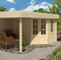 Stig Log Cabin With Side Porch 3.0x2.5m+2.5m #sideporch