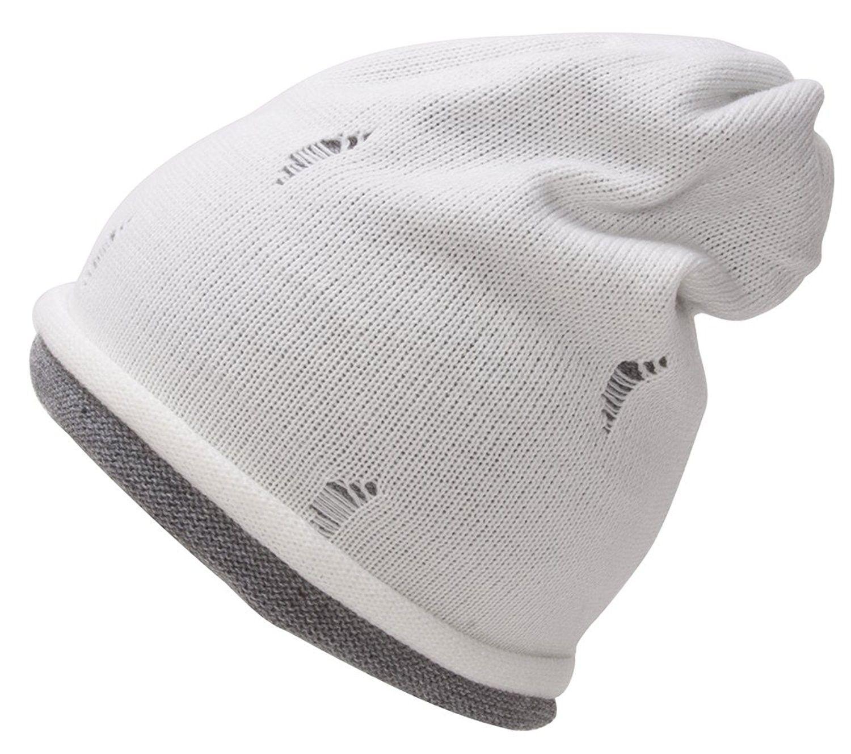 Youth Size Double Layered Beanie - White Melange Grey - CM11RIMUN75 - Hats    Caps 429bfa6cf8