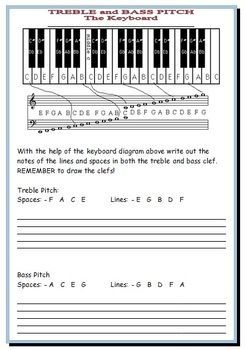 MUSIC: Treble and Bass Pitch: Reference Guide and worksheets! FREE ...