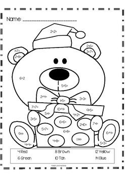 """Christmas Bear """"Addition Color by Numbers""""   Color by ..."""