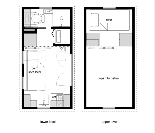 8x16 Tiny House Floor Plan Sample From The Book Tiny House Floor Plans Find It On Amazon It Features A Kitchen Bath Washer Dryer French Doors Lower Level