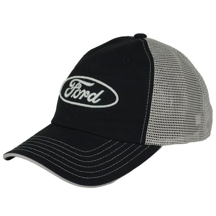 3666cb99a8b Ford mesh hat with a embroidered silver 3D Ford logo on the front. The  front part of the Ford cap is black
