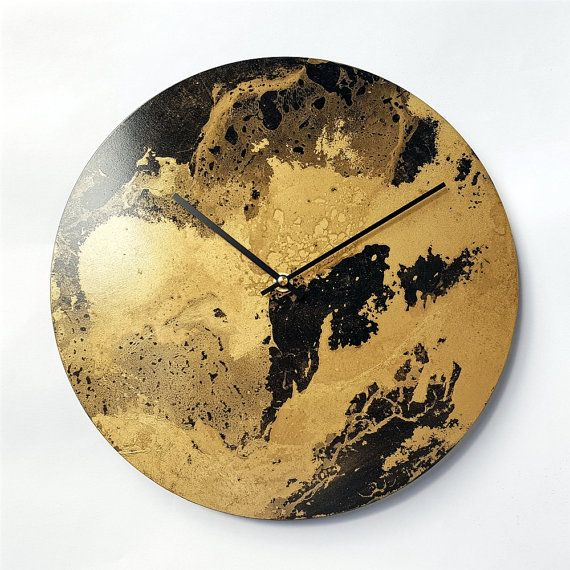 Unique Handmade Clock Big Wall Clock Unique Painting Clock Artistic Clock Gold Clock Wall Decor Wall Clock Gold Wall Clock Handmade Clocks