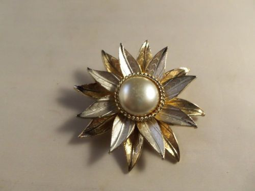 Vintage Gold Tone Sun Flower with Faux Pearl Brooch Pin Retro | eBay