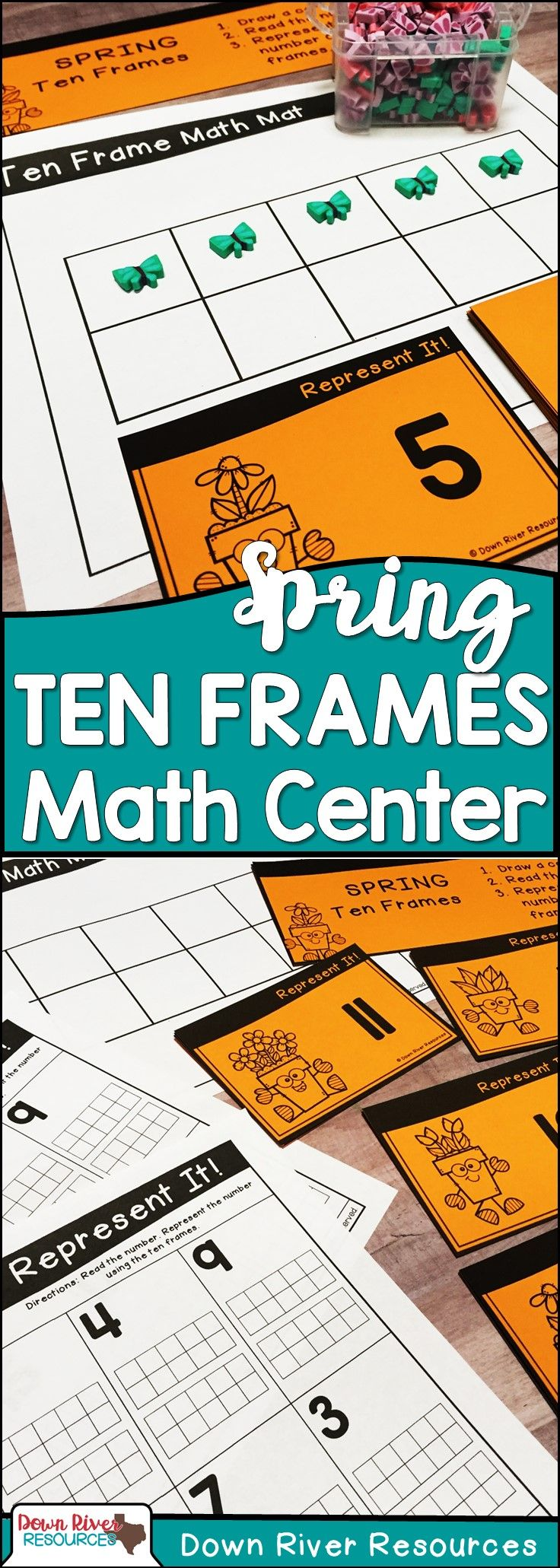 Ten Frames for Kindergarten Spring Math Center | Number Practice 1 ...