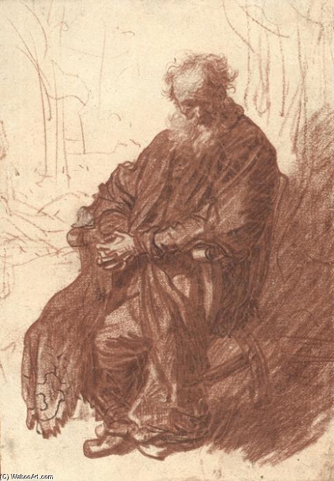Vieux Man Assis Dans Un Fauteuil Full Length Dessin De Rembrandt