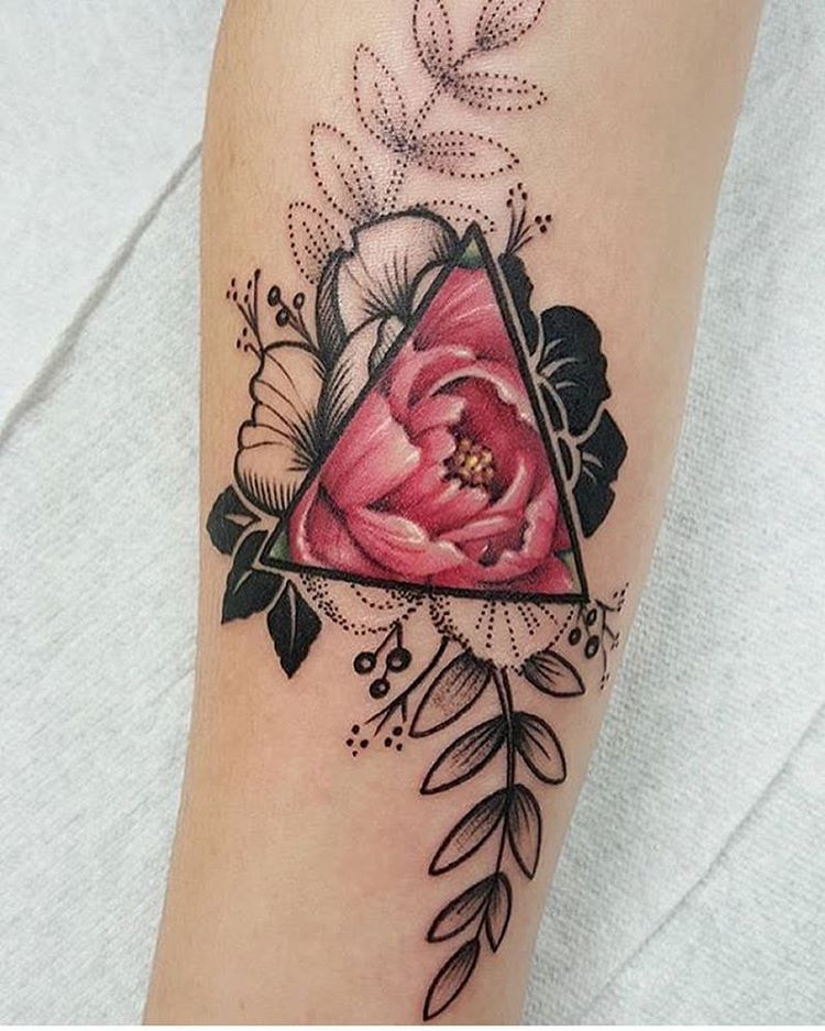 960eebeb73b9a Geometric Triangle Tattoo, Geometric Flower Tattoos, Triangle Symbol,  Triangle Tattoo Design, Geometric