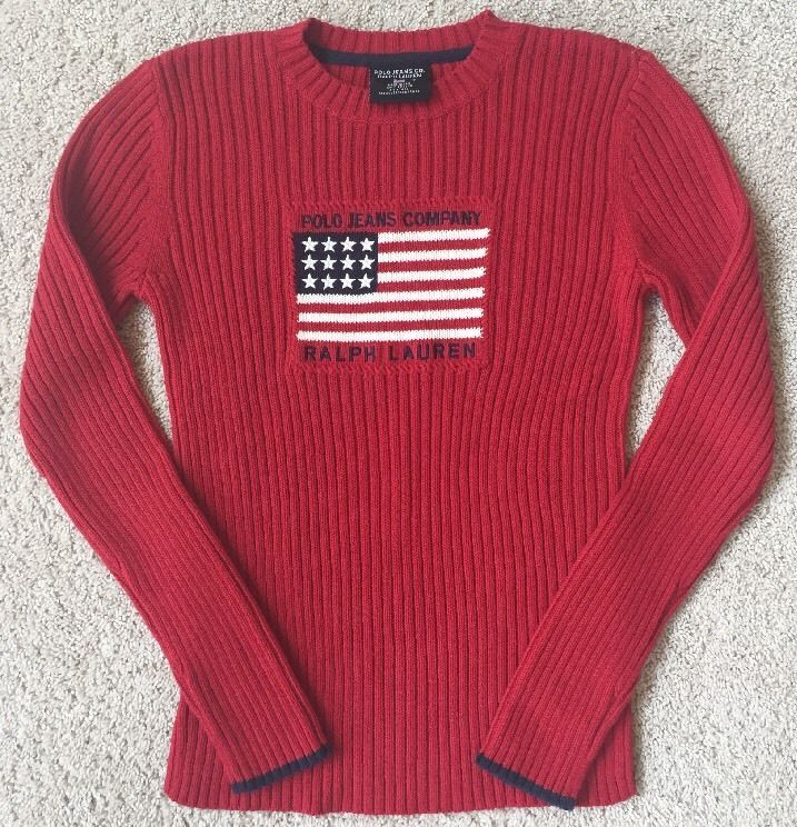 Vintage Women\u0027s Ralph Lauren Polo Jeans American Flag 90\u0027s Red Sweater  Small #PoloRalphLauren #Crewneck