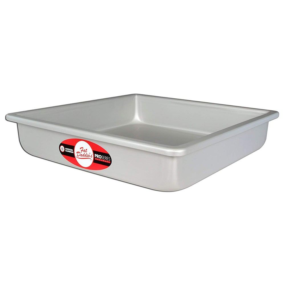 Fat Daddio's Anodized Aluminum Square Cake Pan w/ Solid Bottom, 16 x 16 x 2 Inch