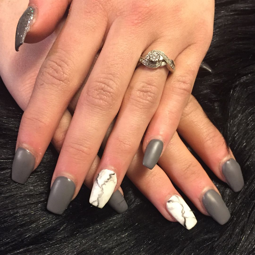 Matte Grey White Marble And Glossy Ombre Glitter Thumbs Lovely Tapered Square Acrylic Extensions With G Grey Matte Nails Nail Extensions Acrylic Square Nails