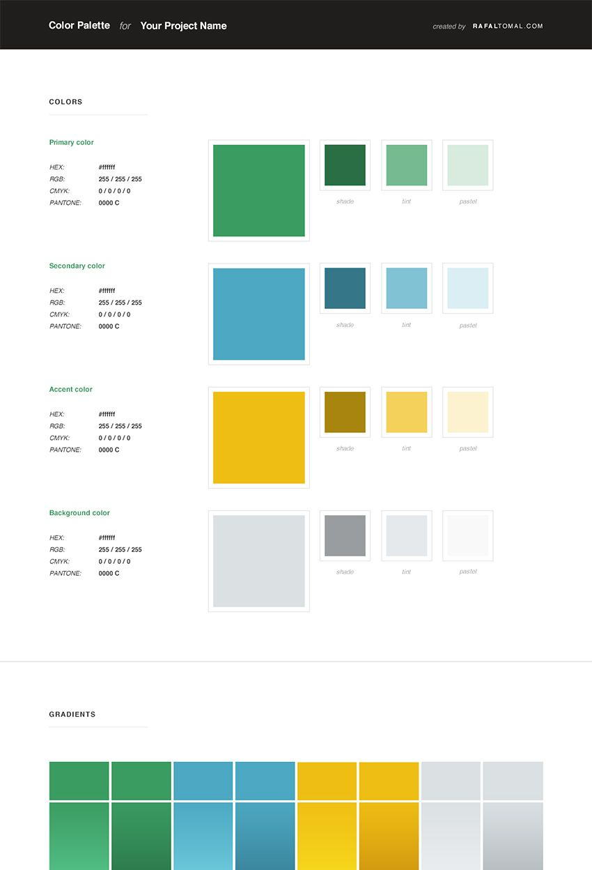 free web style guide psd template colors color theory