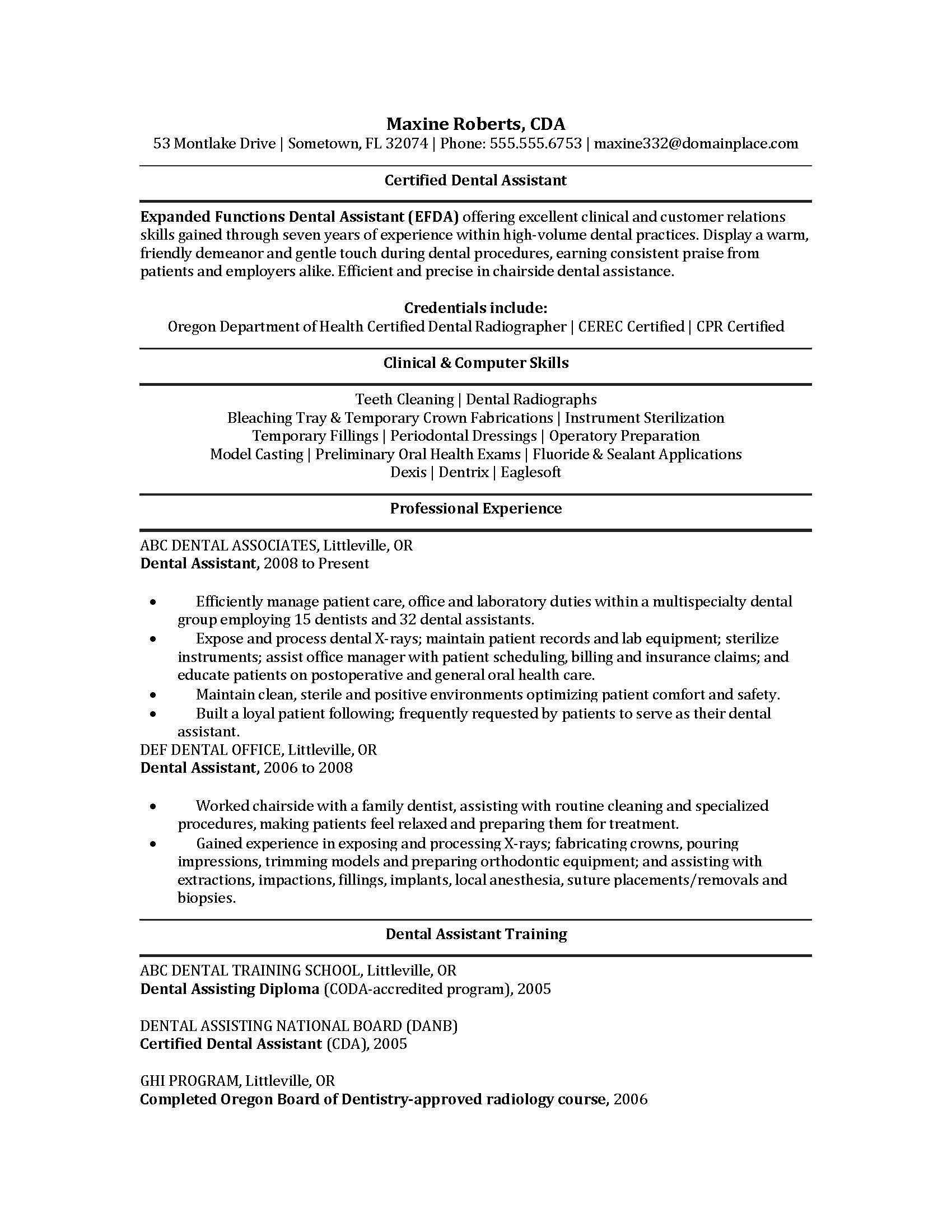 Veterinary Resume Sample Resume For Dental Hygienist Resum Hygiene Template