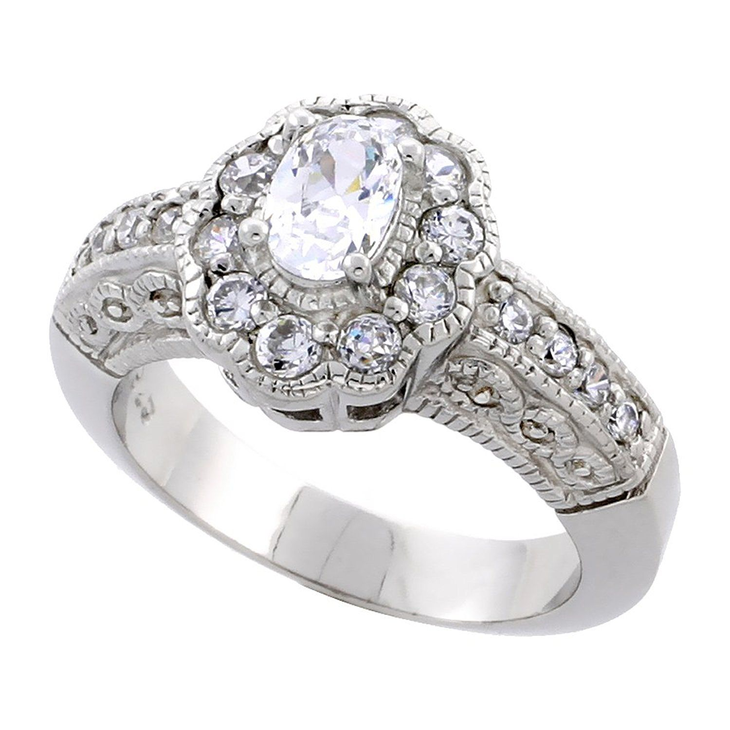 Sterling Silver Vintage Style Flower Halo Cubic Zirconia